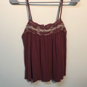 Embroidered Maroon Top